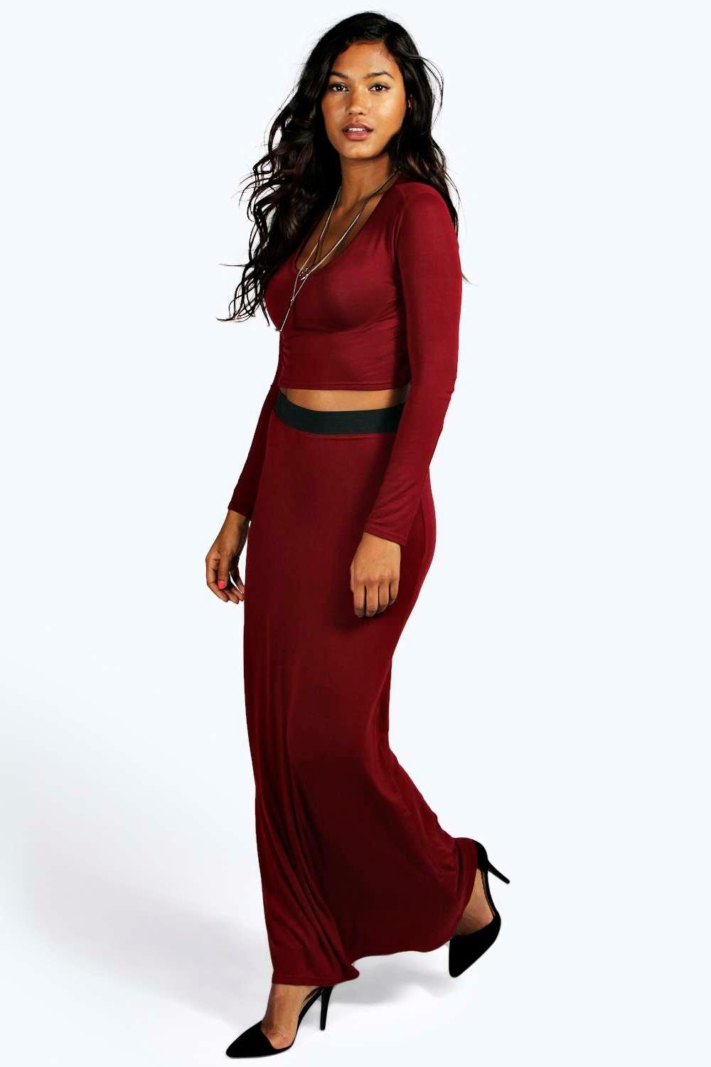 Tilly Long Sleeve Crop Top & Maxi Skirt Co-Ord Set at boohoo.com
