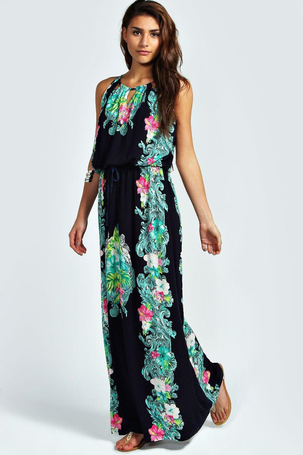 Bella Border Print Bagged Over Maxi Dress