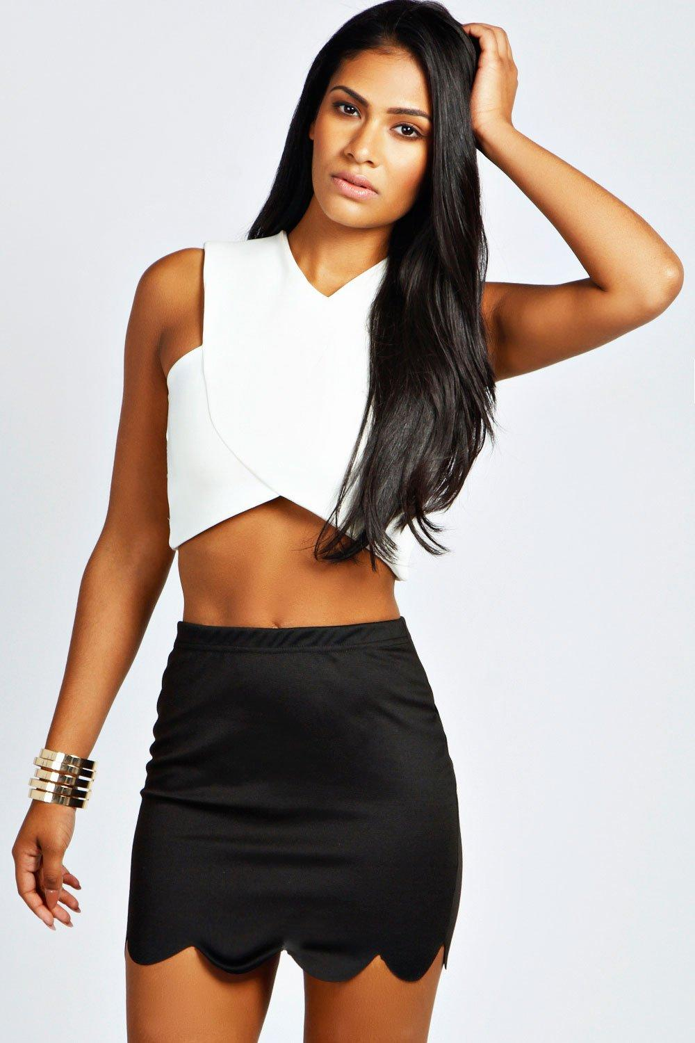 Ivy Scallop Hem Ponte Mini Skirt