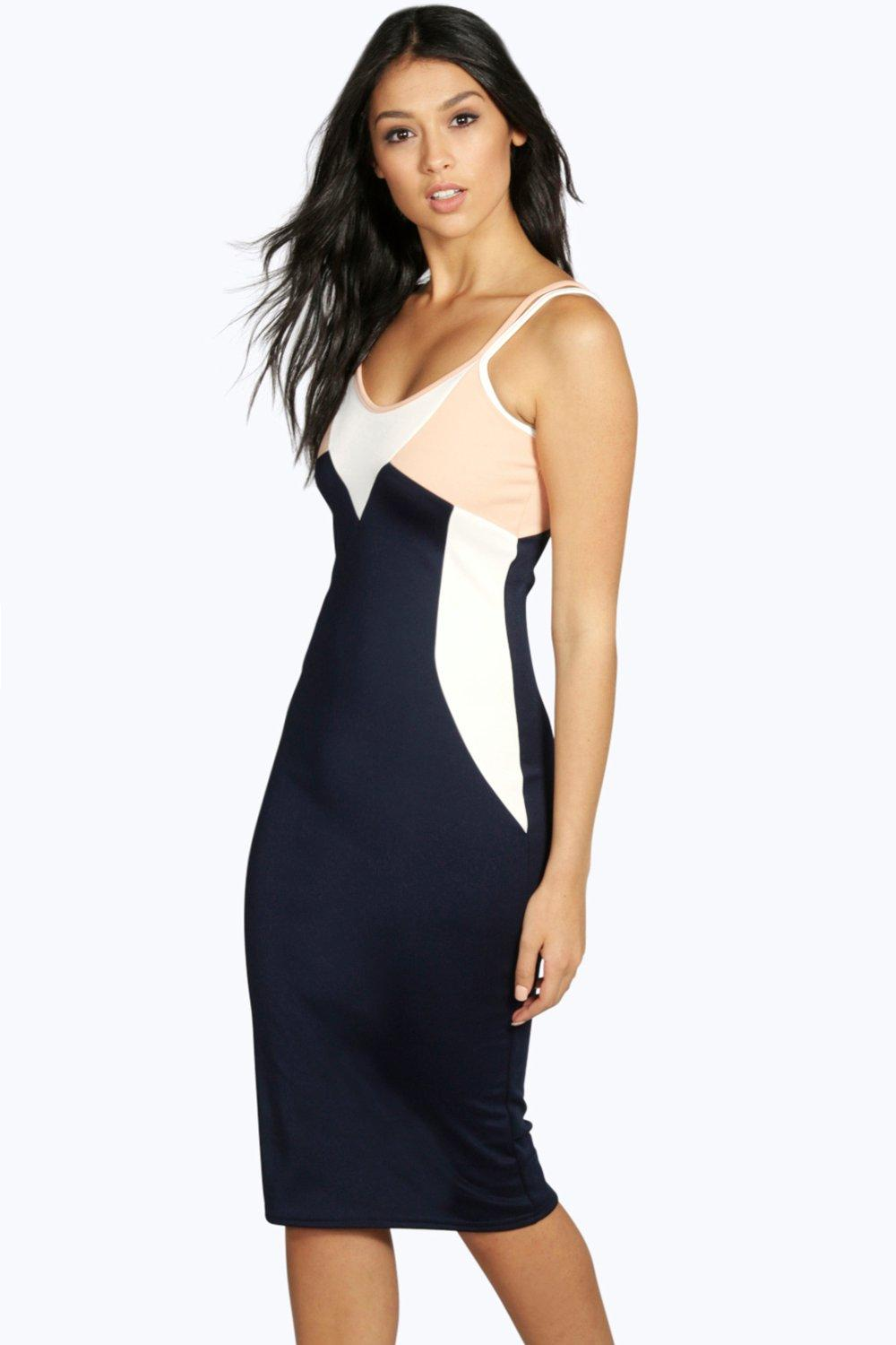 Natasha Colour Block Bodycon Dress