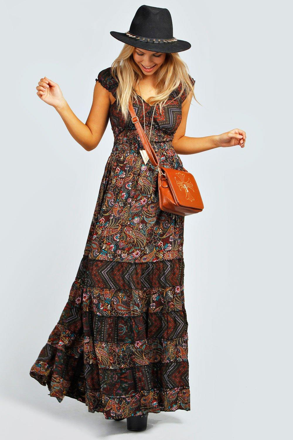 Julia Elastic Gypsy Tierred Maxi Dress