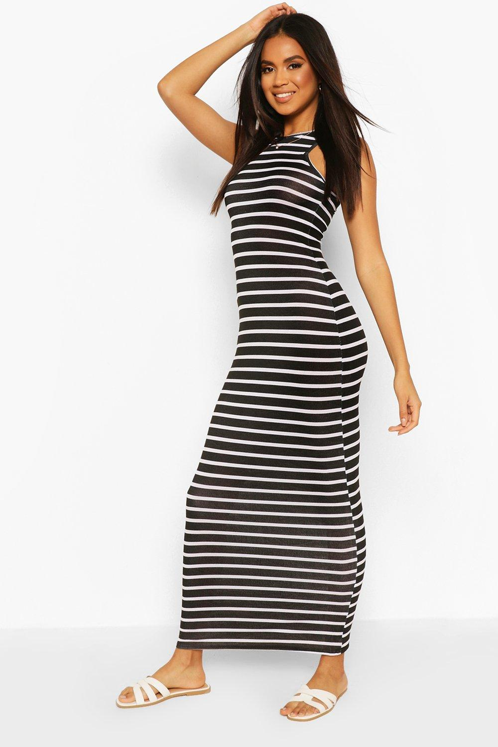 Darcey Striped Cut Away Maxi Dress At Boohoo Com
