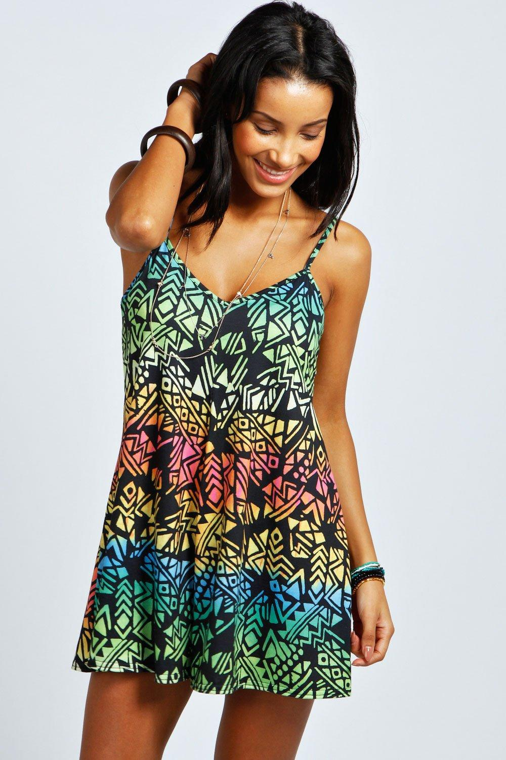 Raine Rainbow Print Strappy Swing Playsuit