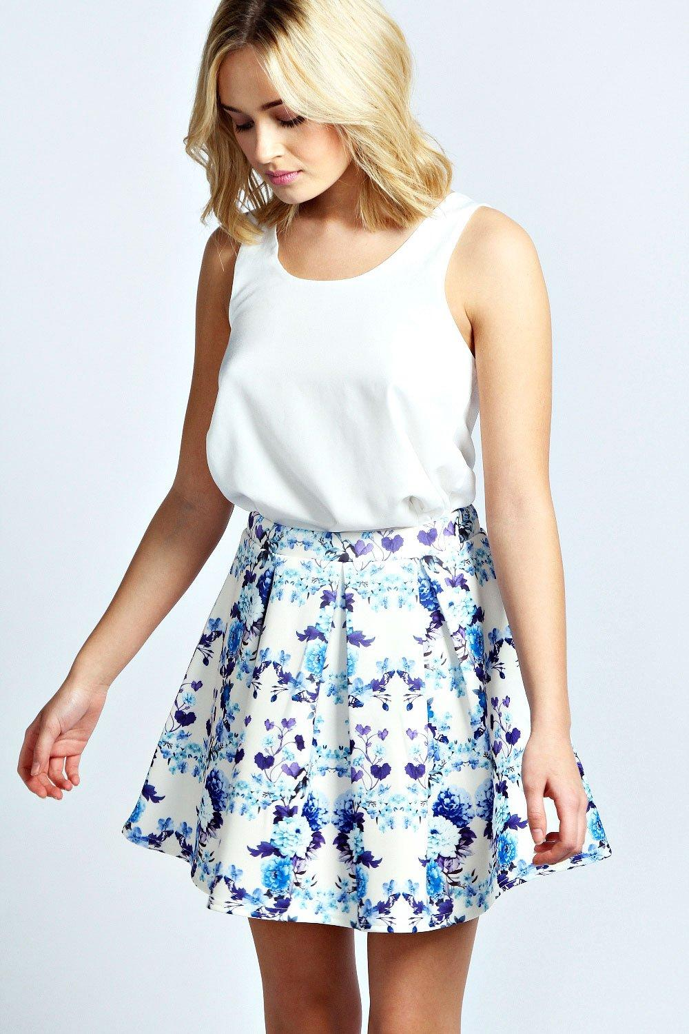 Sally Porcelain Print Box Pleat Skater Skirt