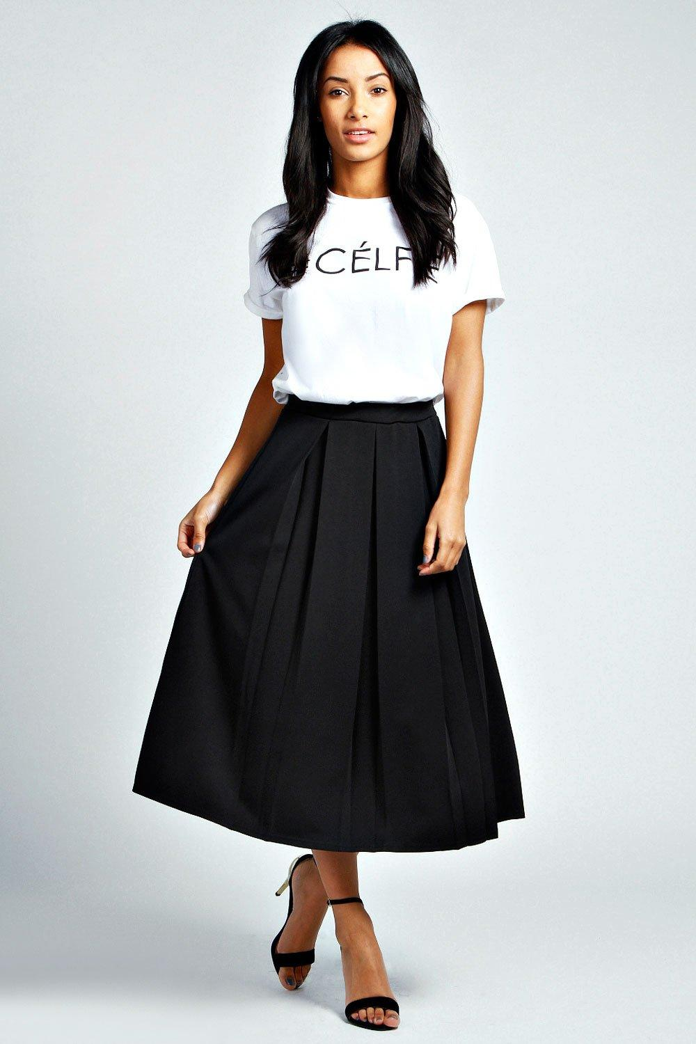 Bea Box Pleat Midi Length Scuba Skater Skirt at boohoo.com