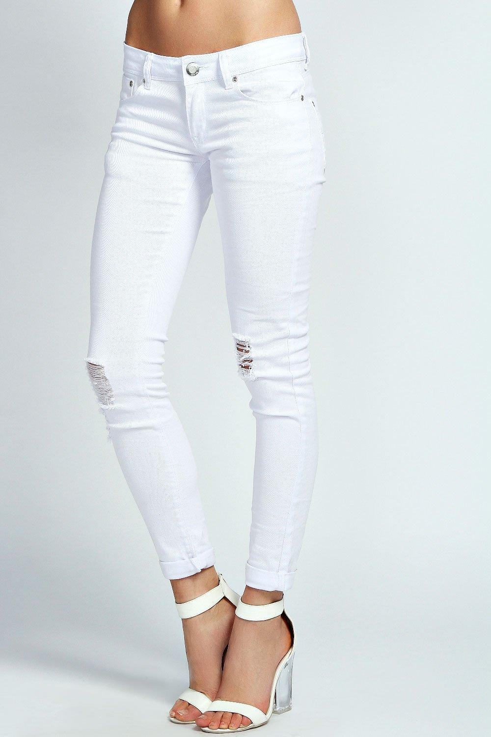 Alesha Open Knee Skinny White Jeans