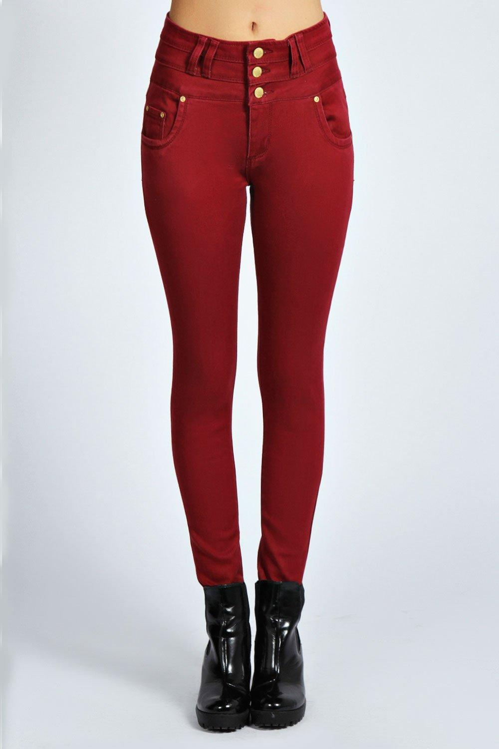 Mollie 3 Button High Waist Skinny Jeans at boohoo.com