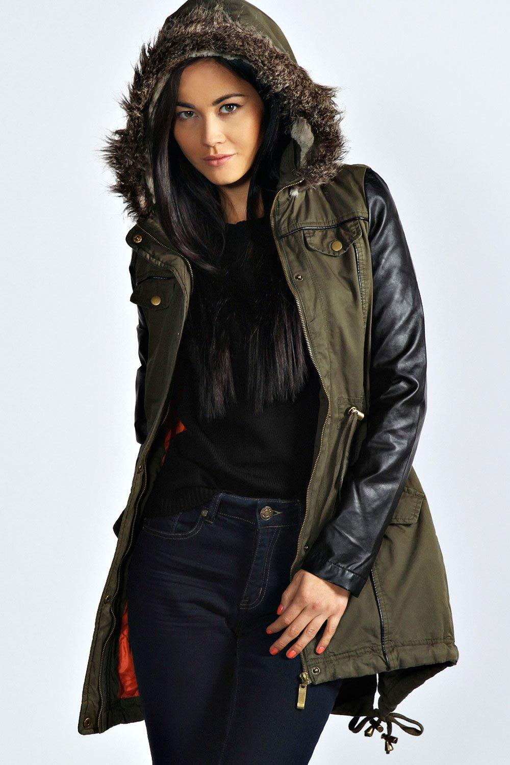 Alia Faux Leather Sleeve Parka at boohoo.com