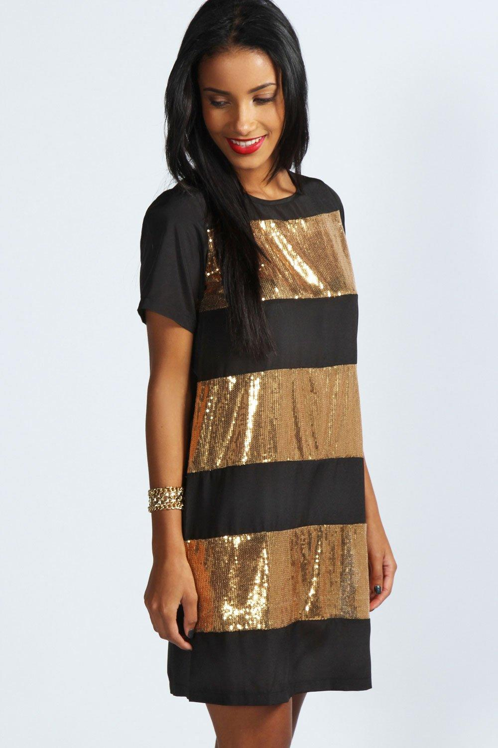 Clarey Sequin Stripe Shift Dress
