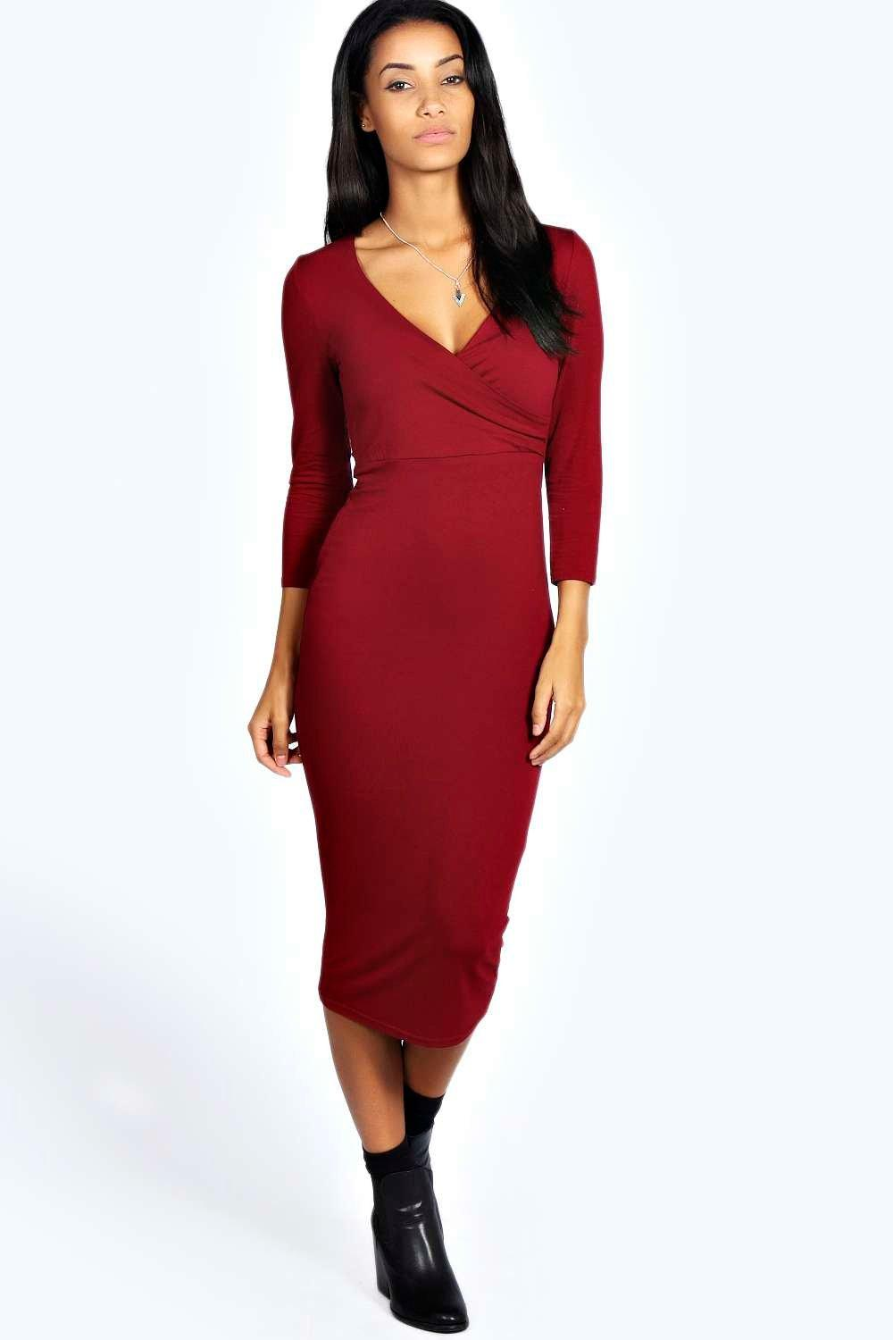Laura Midi Wrap Dress at boohoo.com