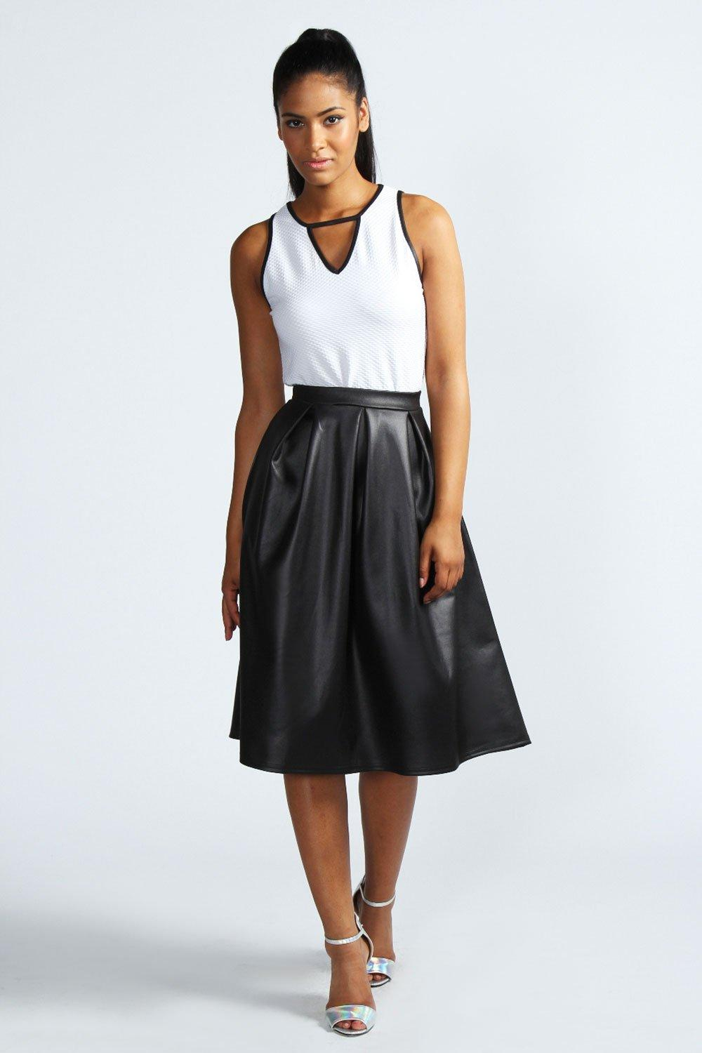 Lucy Over The Knee Box Pleat Wet Look Skirt