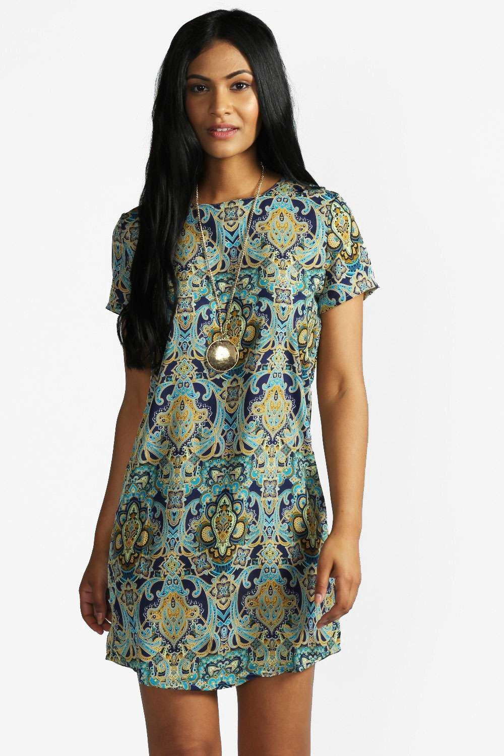 Kelly Paisley Print Short Sleeve Shift Dress at boohoo.com