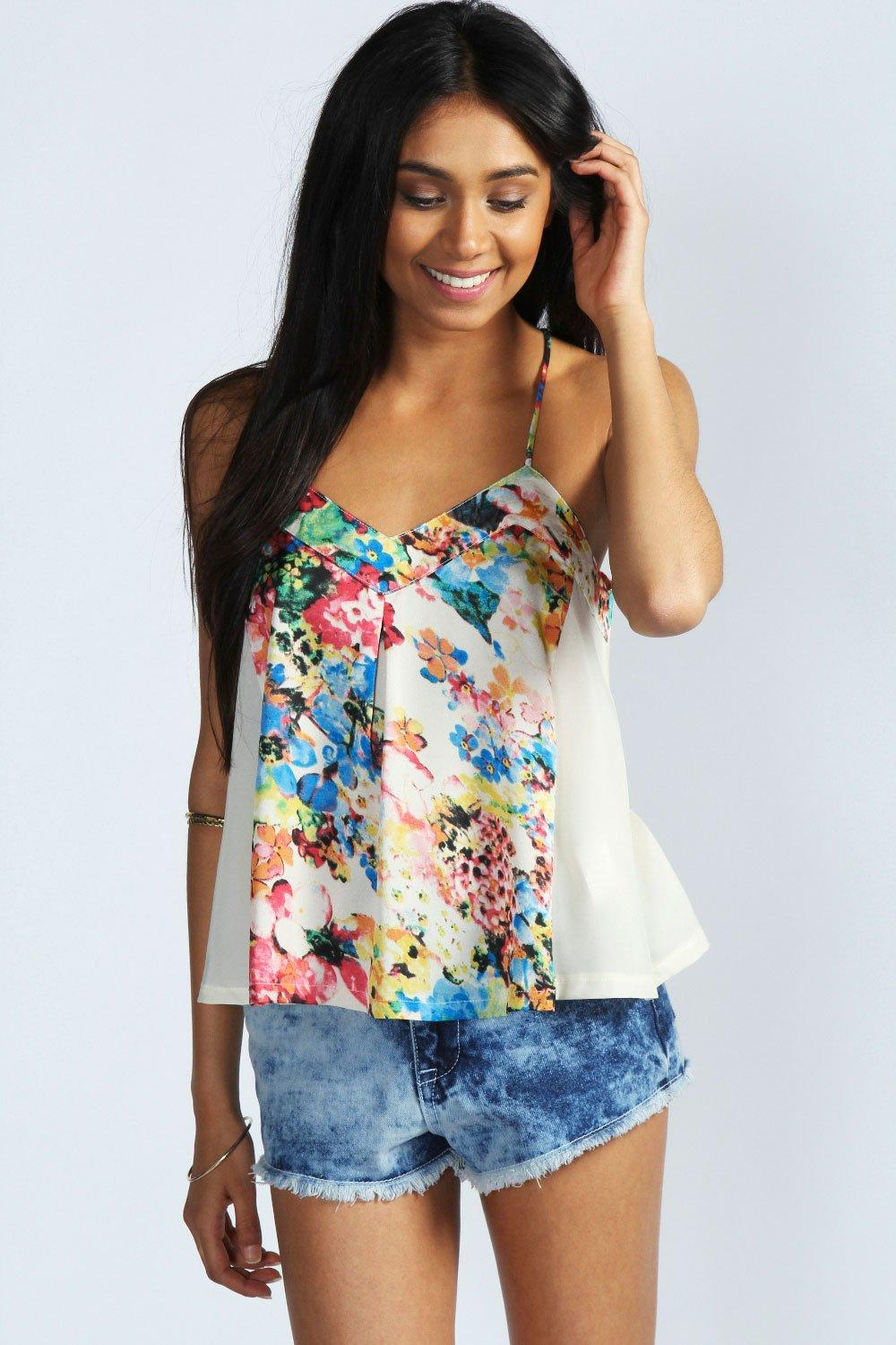 Mia Washed Out Floral Print Swing Cami