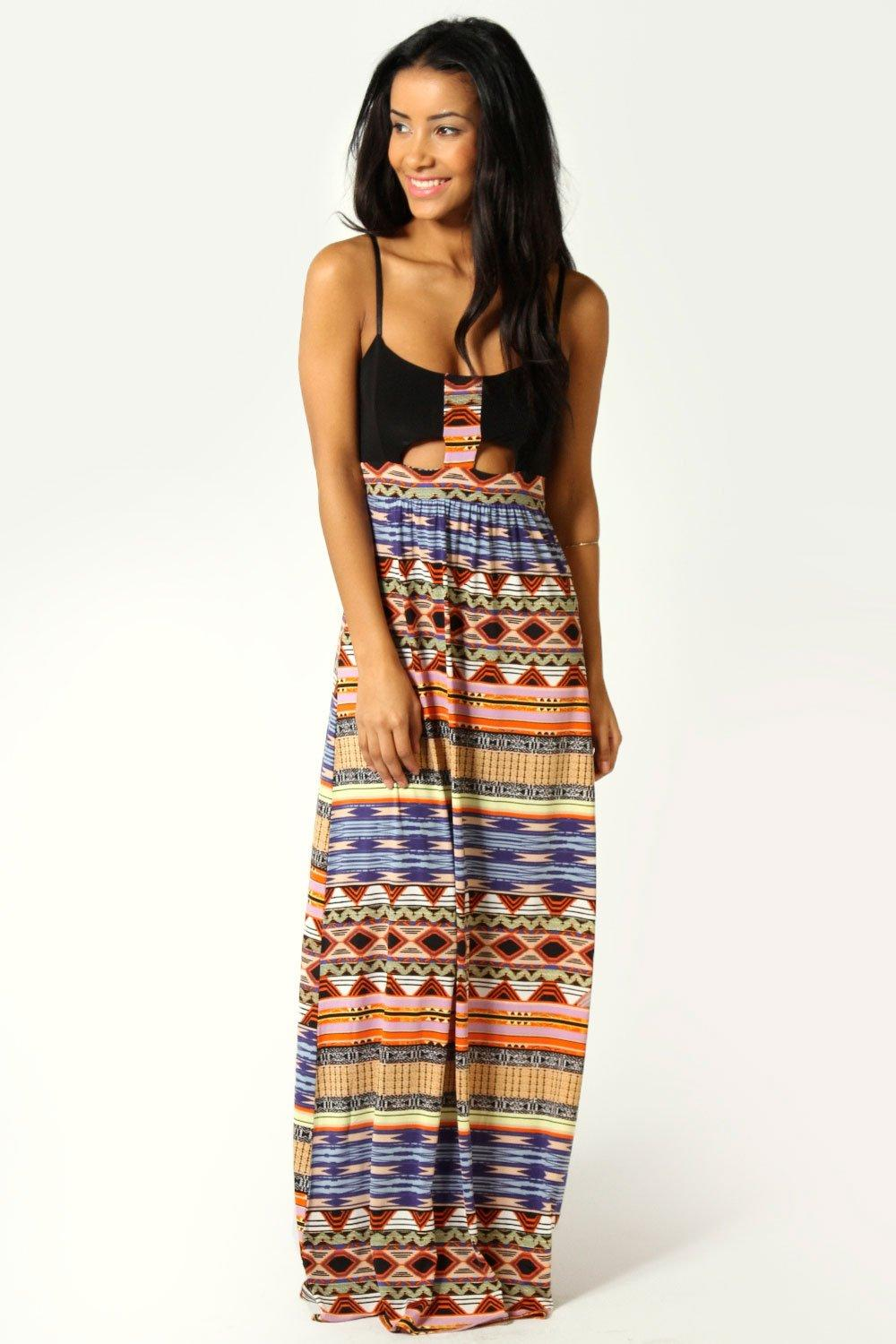 Naila Tribal Print Cut Out Front Detail Maxi Dress at boohoo.com