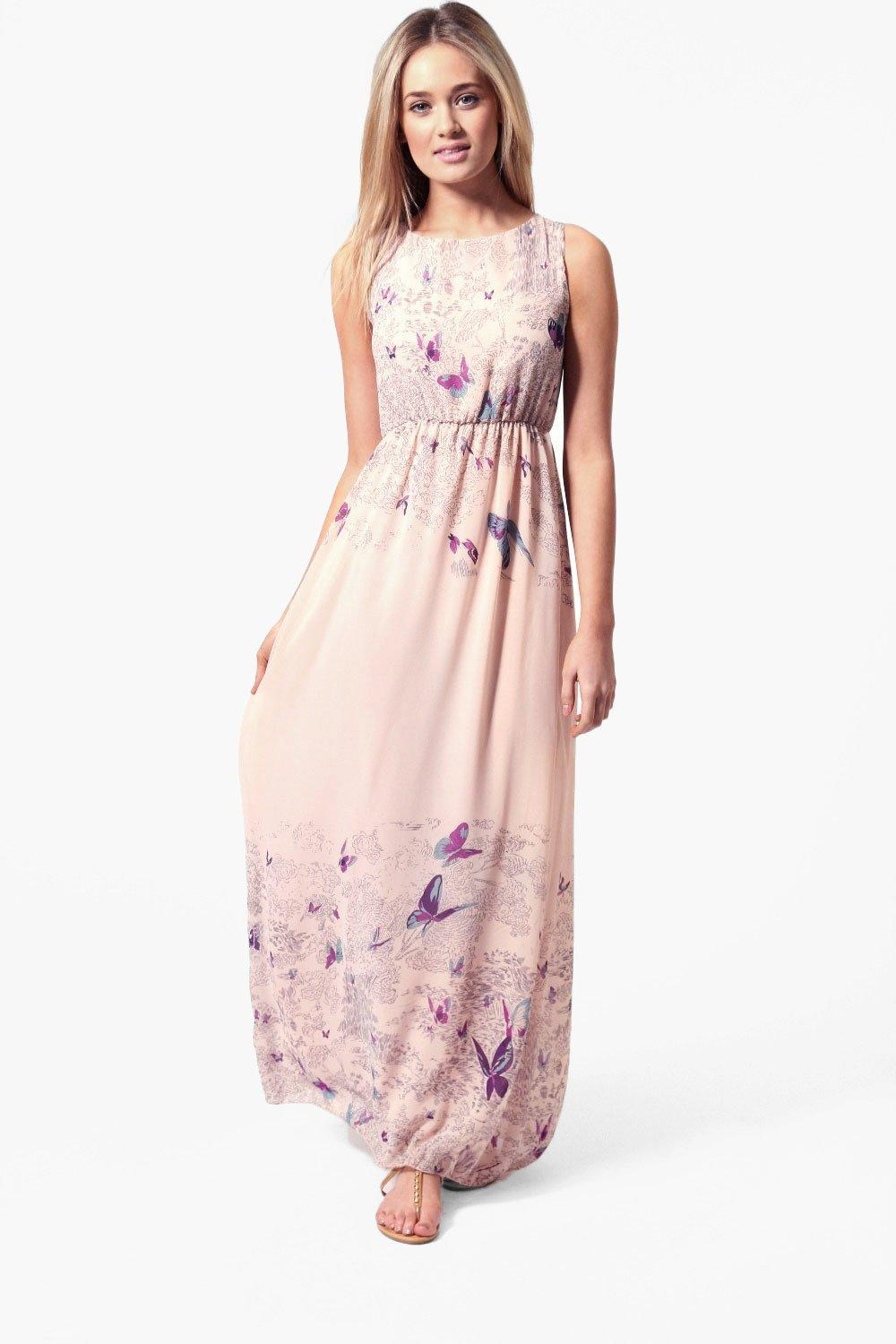 Rachel Tie Back Border Print Butterfly Maxi Dress at boohoo.com