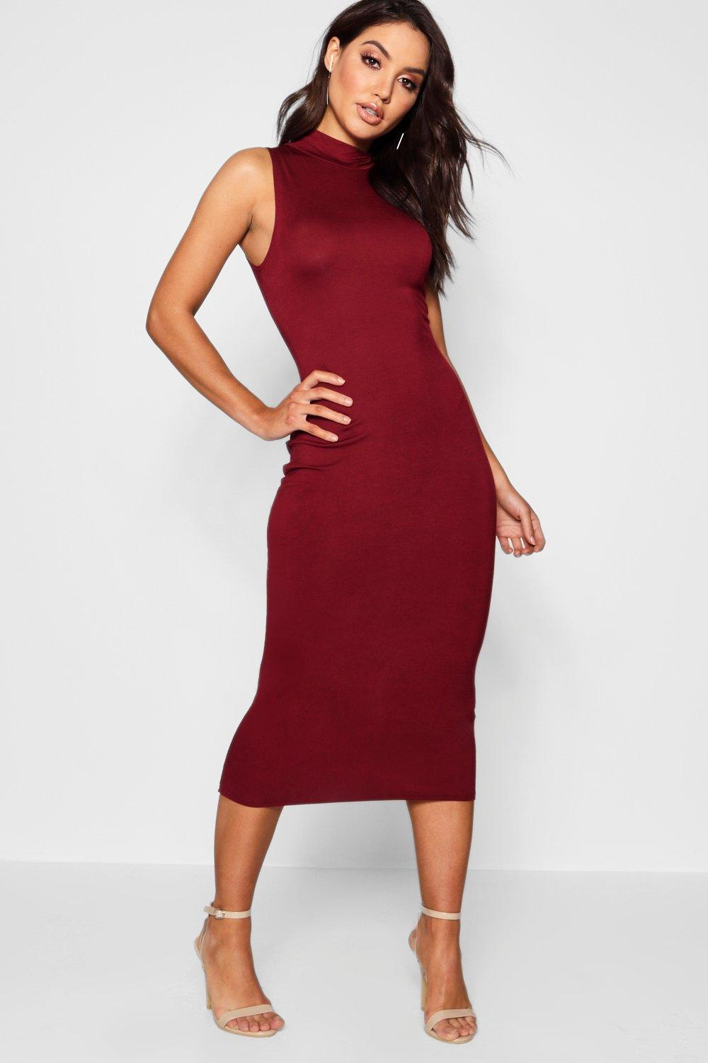 Billie turtle neck sleeveless midi bodycon dress at for Boohoo dresses for weddings