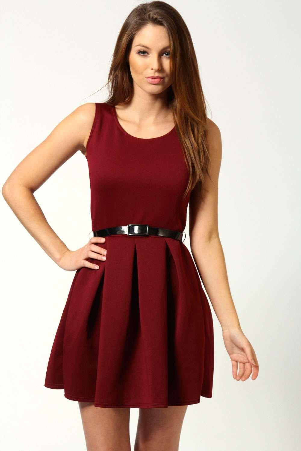 Julia box pleat sleeveless skater dress at for Boohoo dresses for weddings