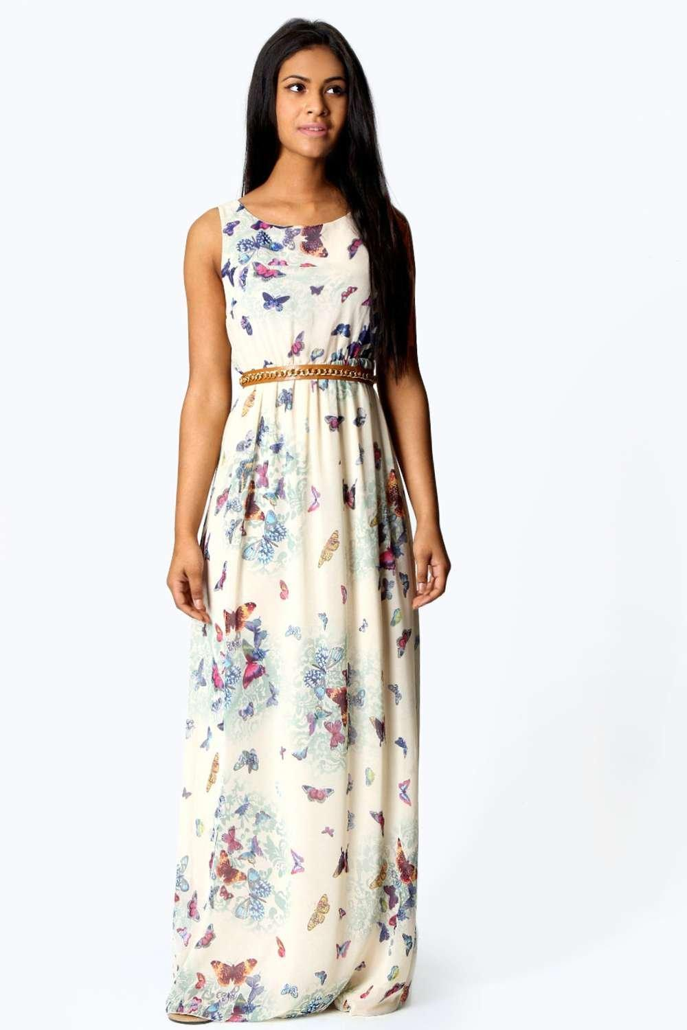 Fionna Chiffon Butterfly Print Open Back Maxi Dress