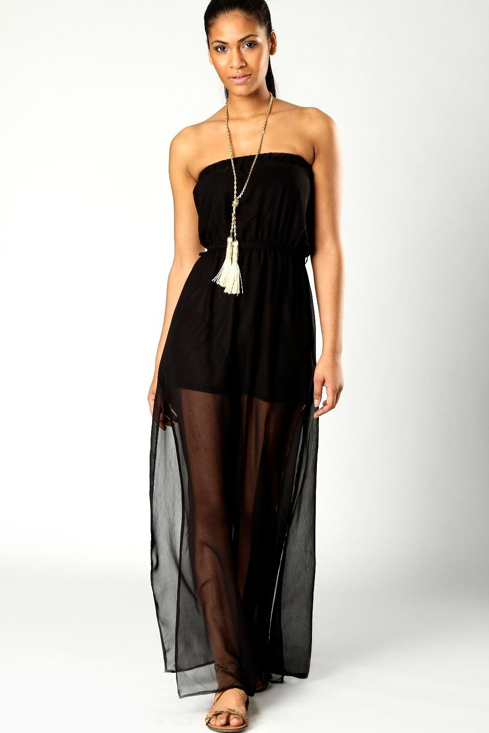 Talia Bandeau Maxi Dress With Side Splits
