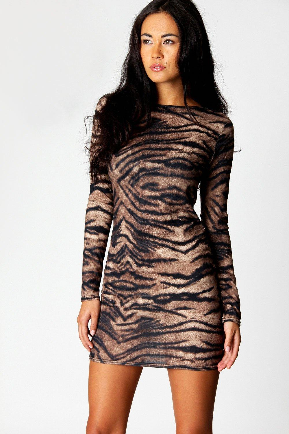Sacha Tiger Long Sleeve Bodycon Dress