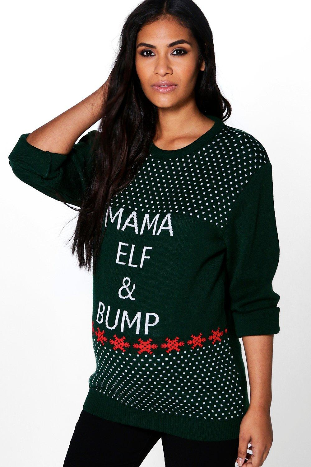 Maternity Mia Mama Elf & Bump Christmas Jumper