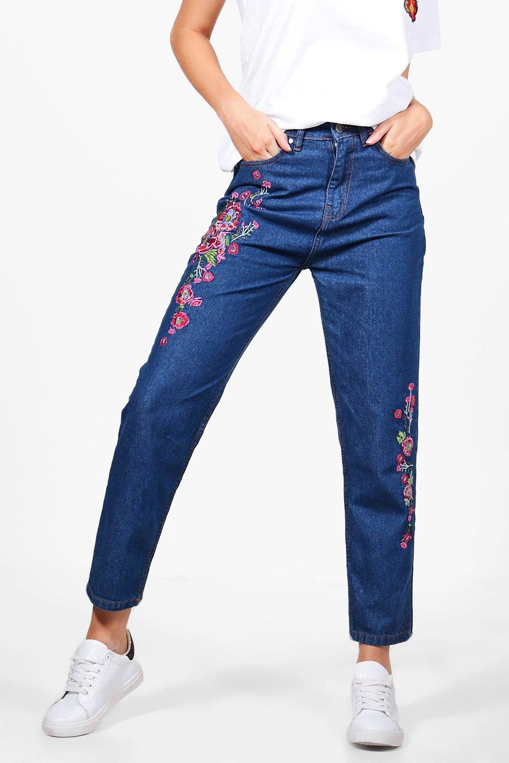 Beth floral embroidered jeans at boohoo