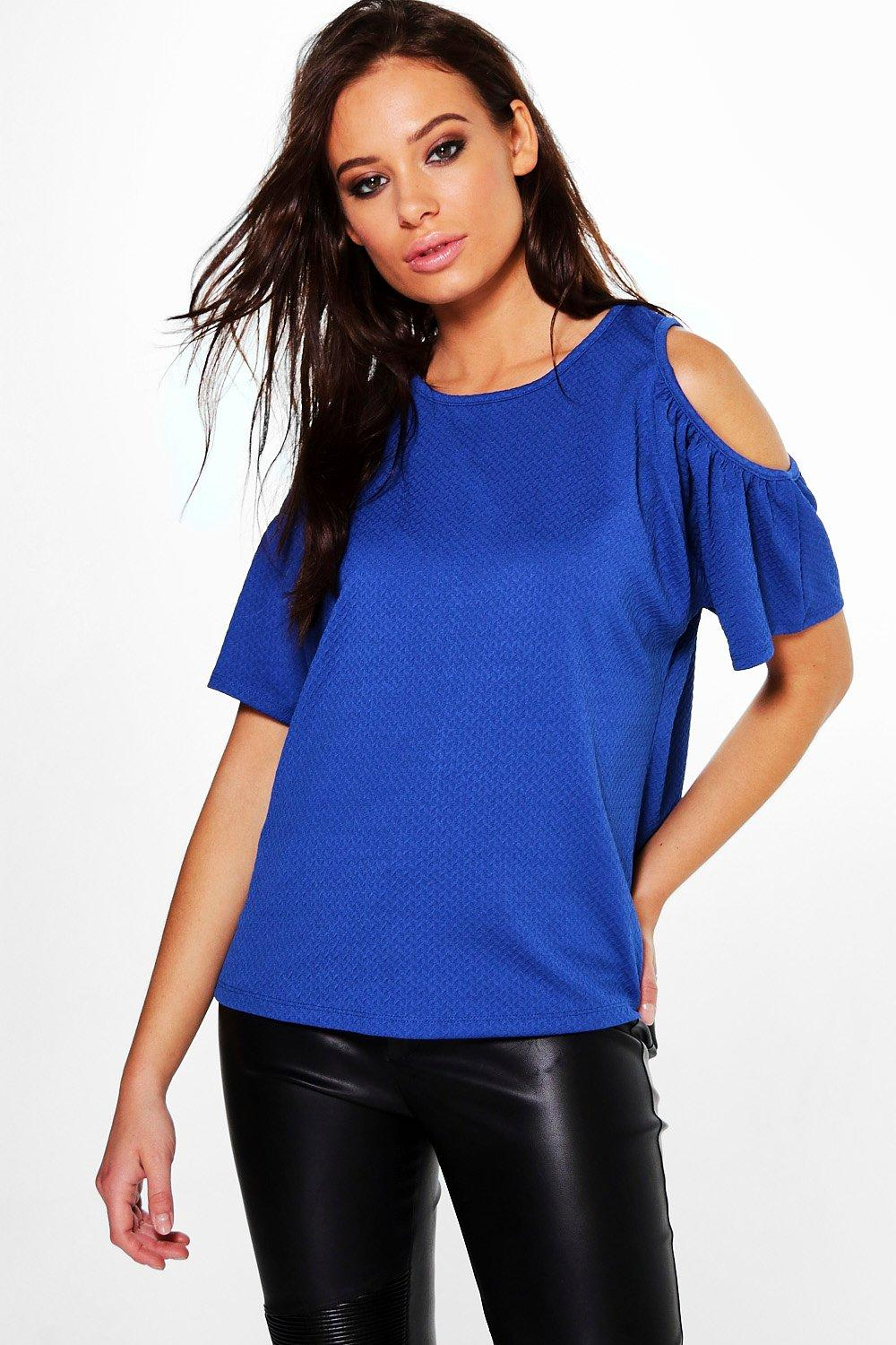 Kristy Textured Cold Shoulder Top