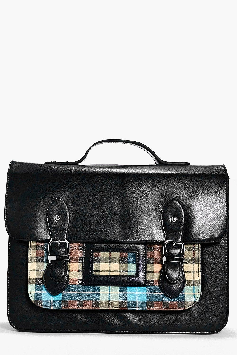 Maisy Neon Tartan Check Pocket Satchel