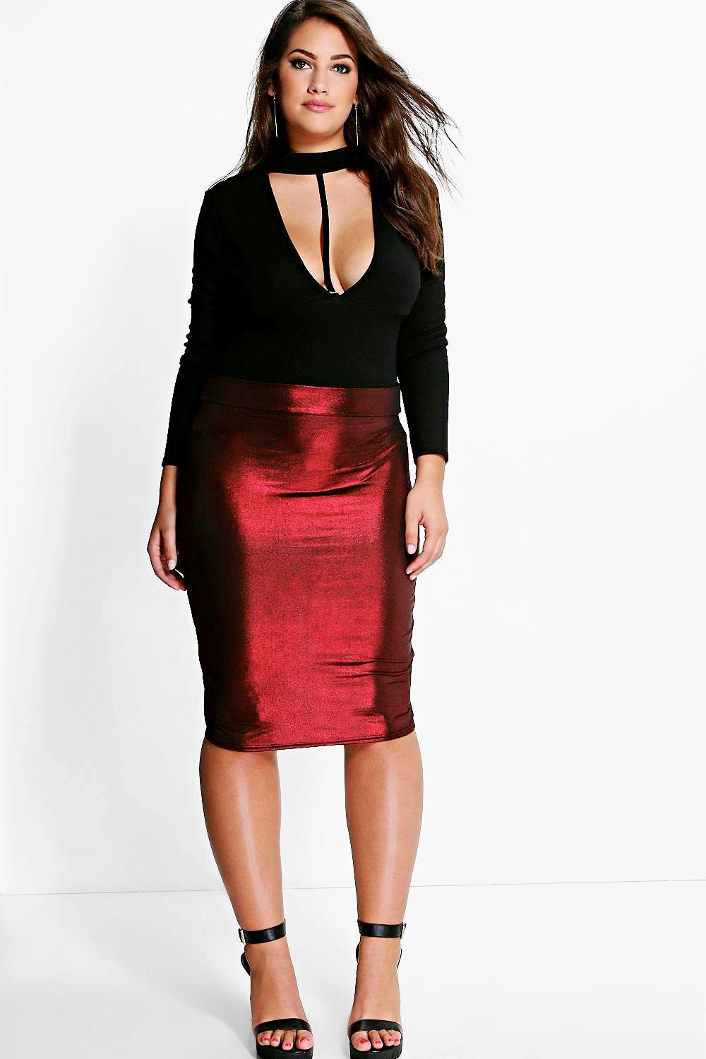 Plus Hollie Metallic Midi Skirt