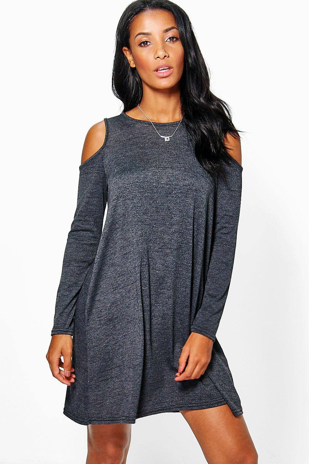 Eva Open Shoulder Knitted Swing Dress
