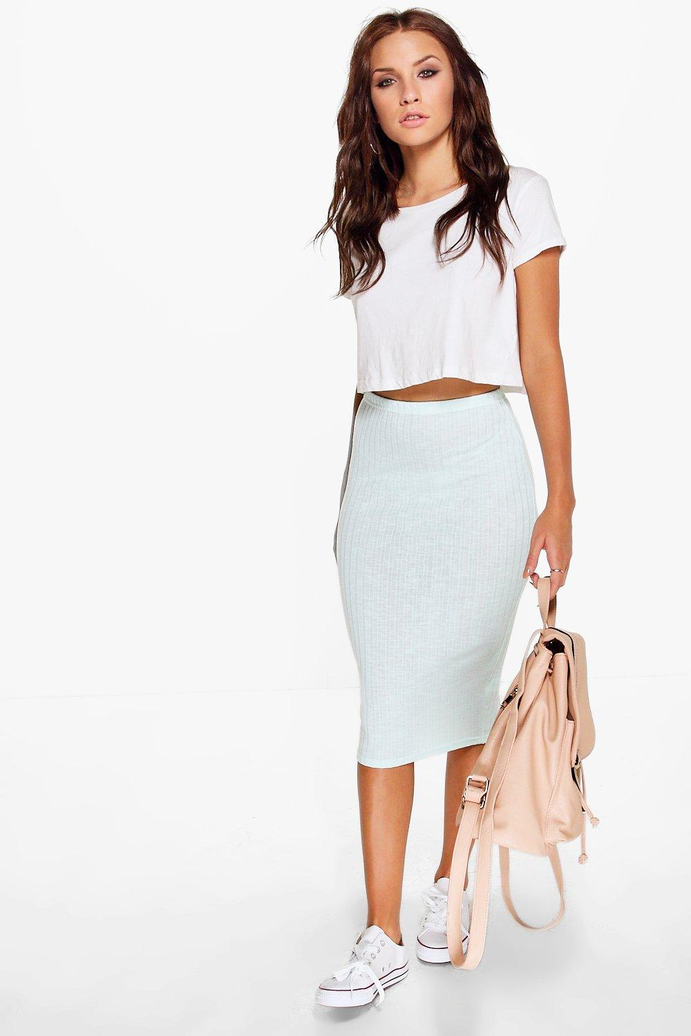 Selera Knitted Rib Midi Skirt