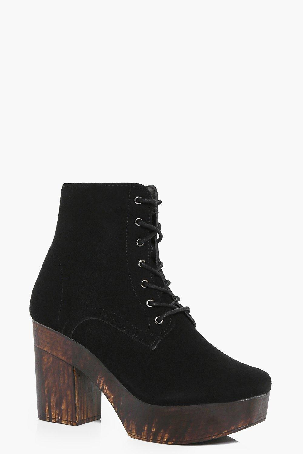 Laura Suedette Lace Up Wooden Platform Boot