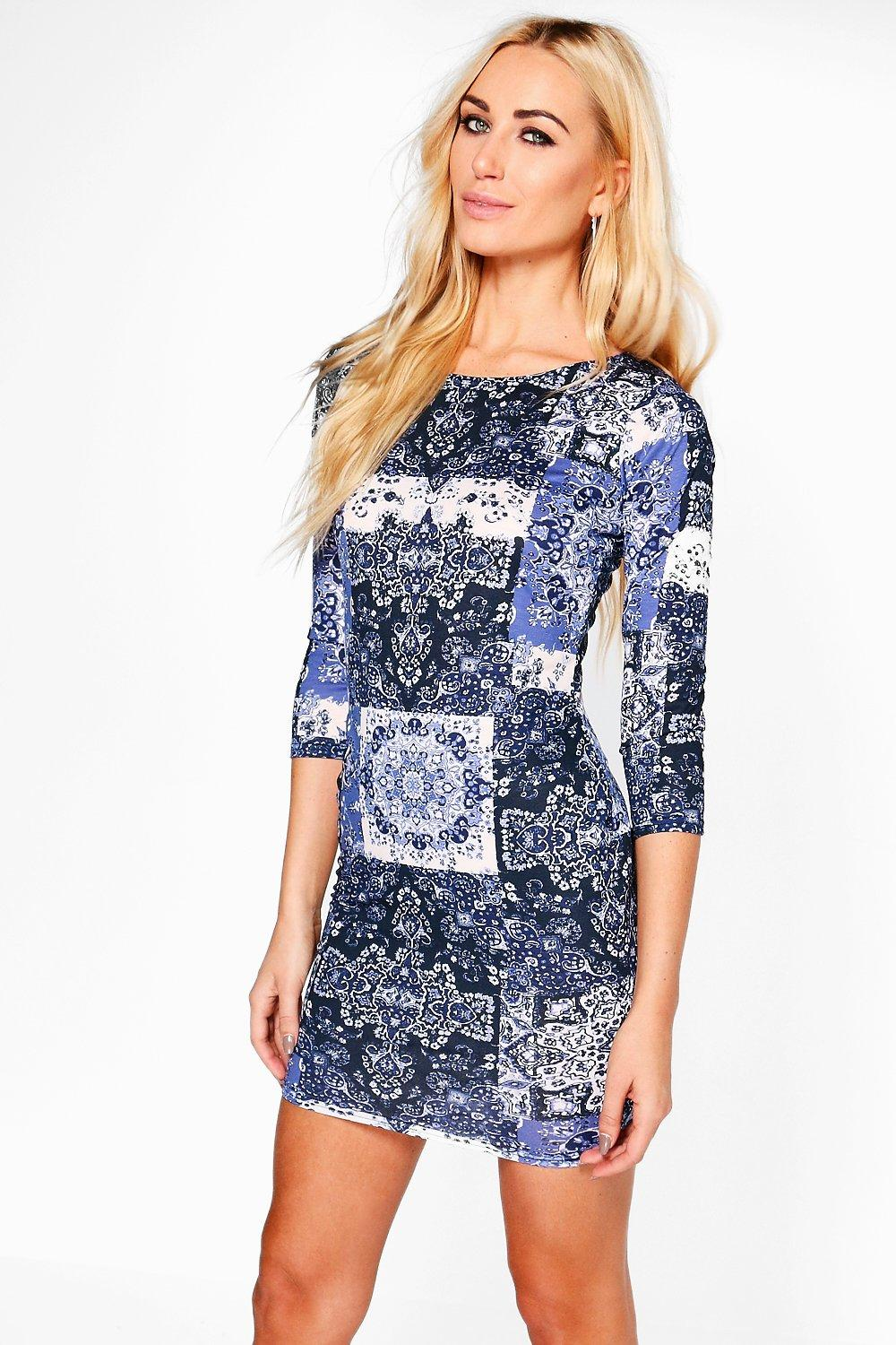 Bella Printed 3/4 Sleeved Bodycon Dress
