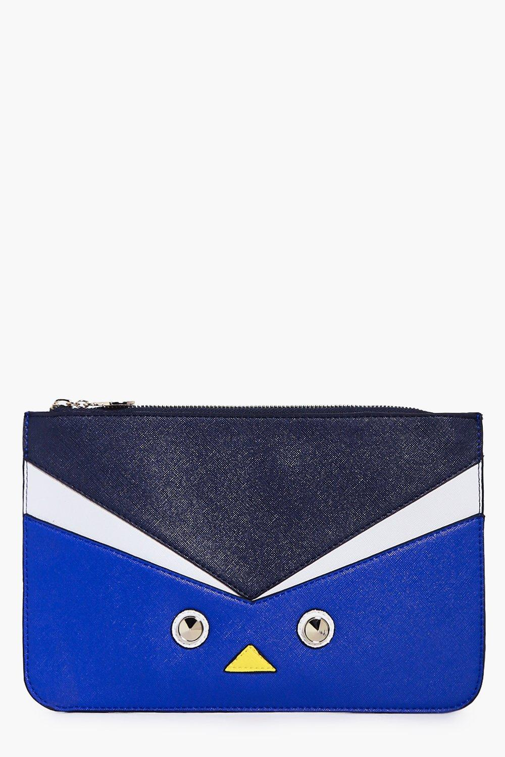 Claire Colour Block Stud Detail Zip Top Clutch