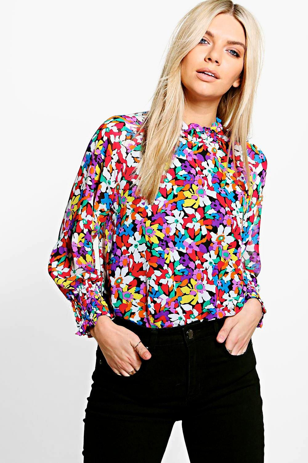 Nicole Floral High Neck Blouse