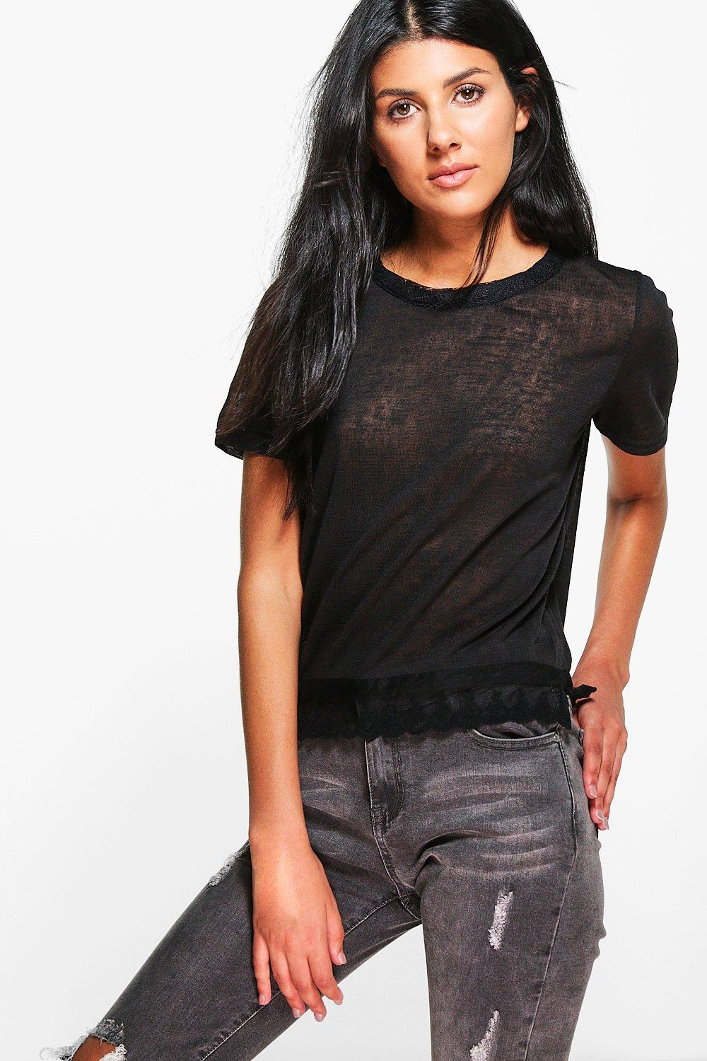 Martha Slub T-Shirt With Lace Trim