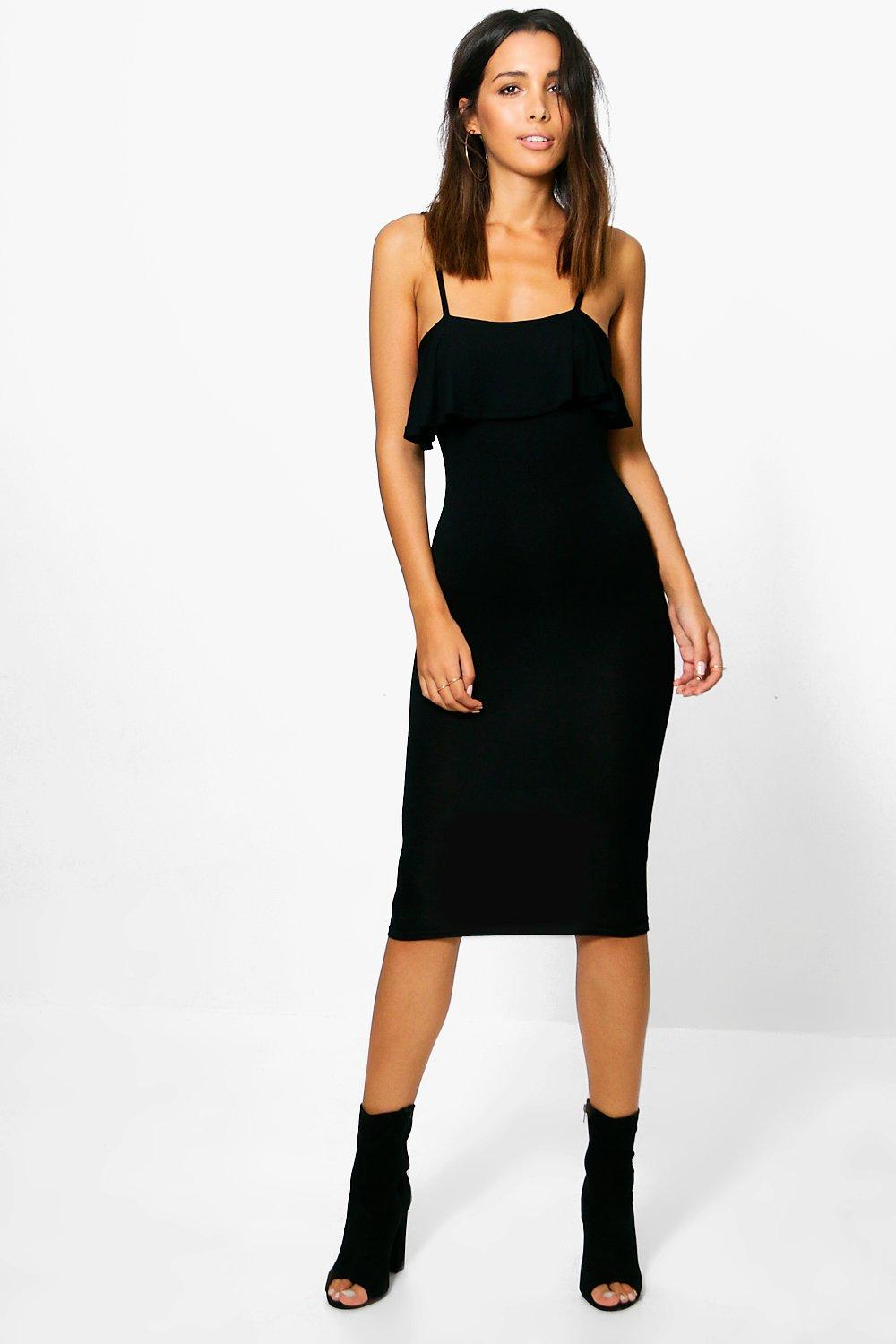 Florence Strappy Midi Dress With Ruffles