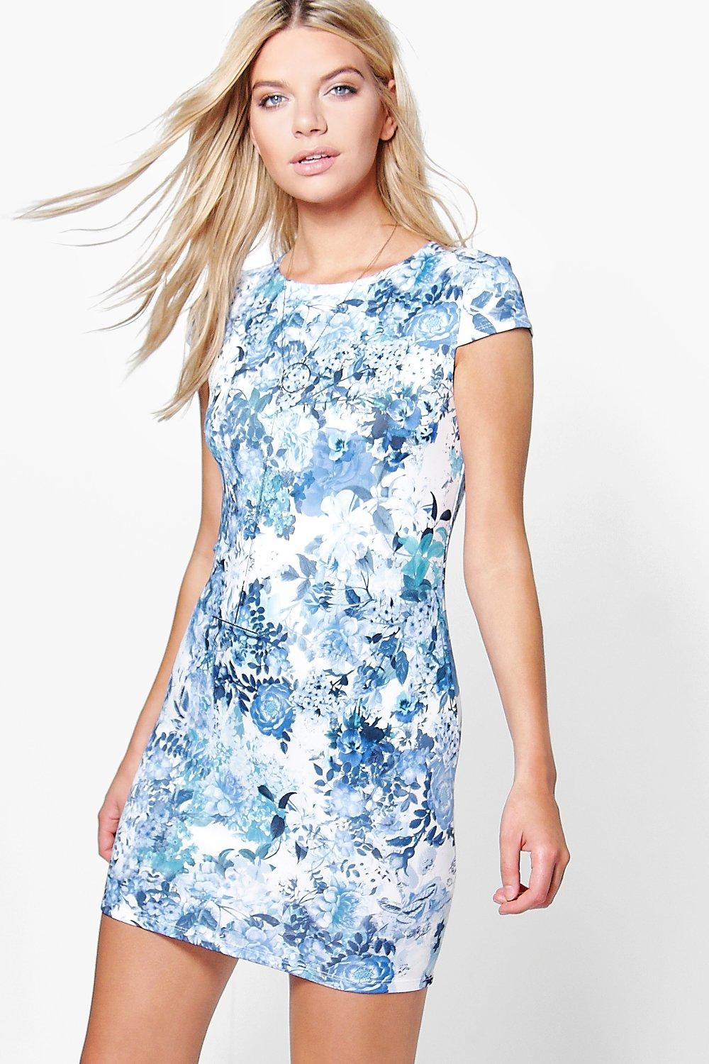 Olivia Floral Cap Sleeve Bodycon Dress