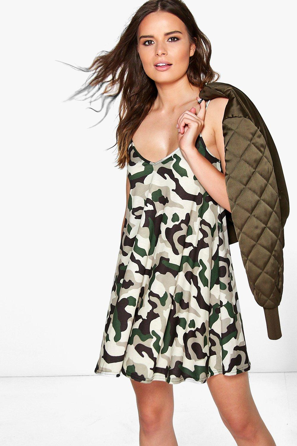 Amelie Camo Swing Dress