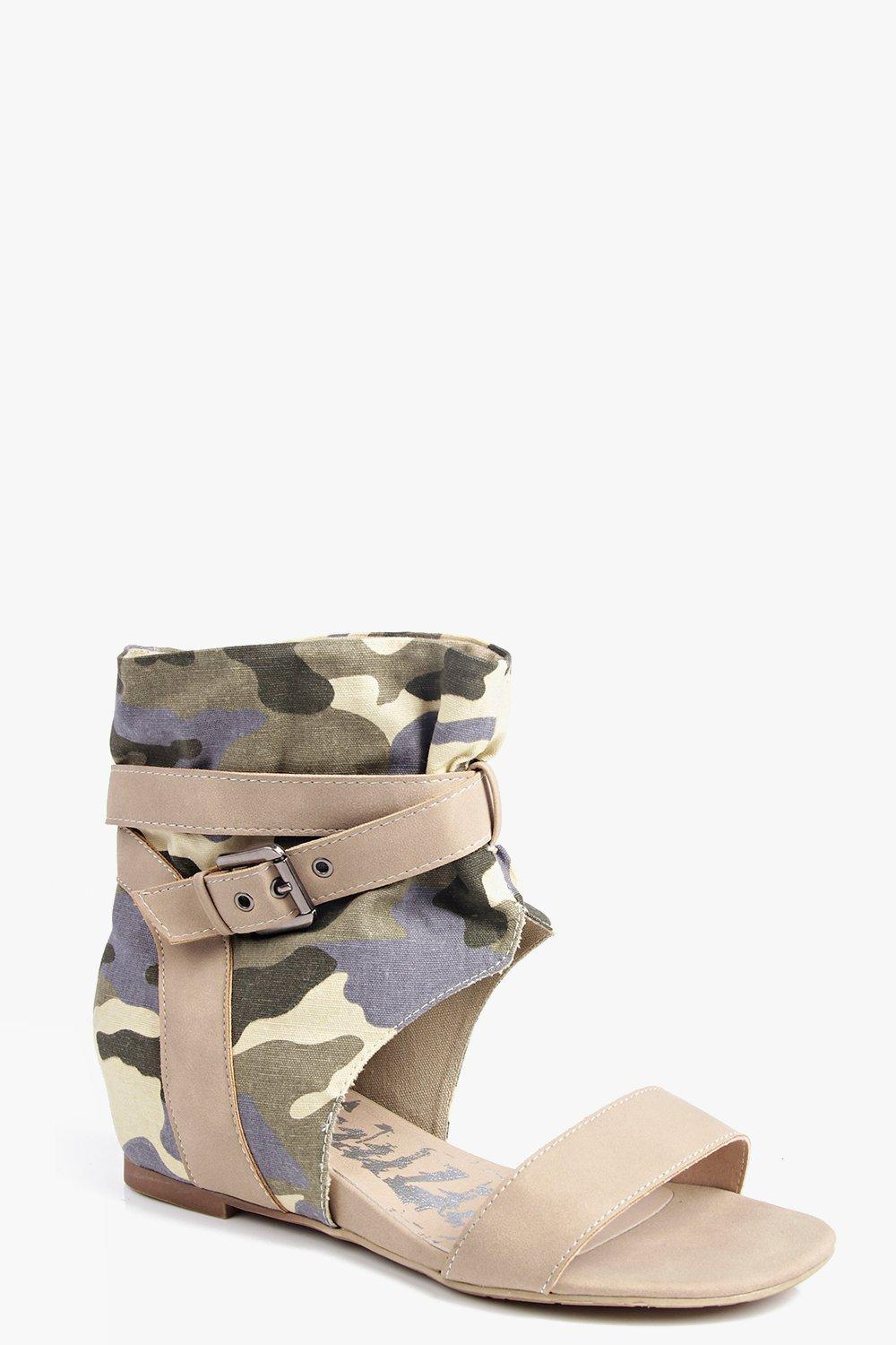 Holly Camo Demi Wedge Wrap Strap Sandal