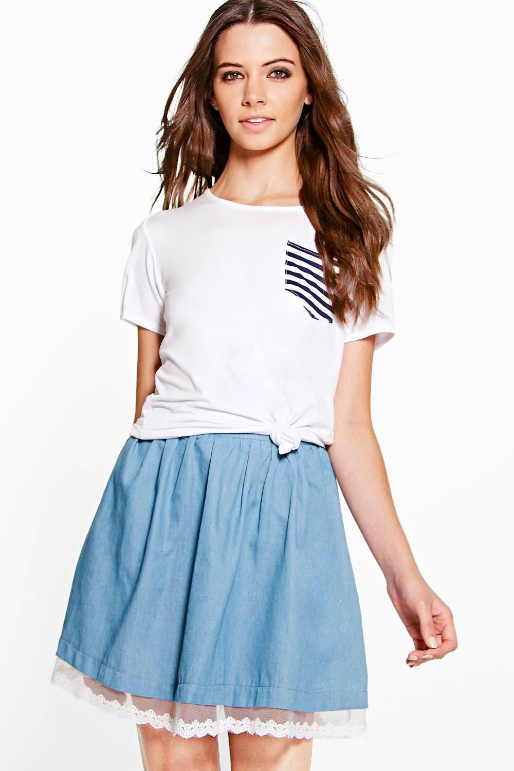 Sophie Lace Trim Chambray Skirt