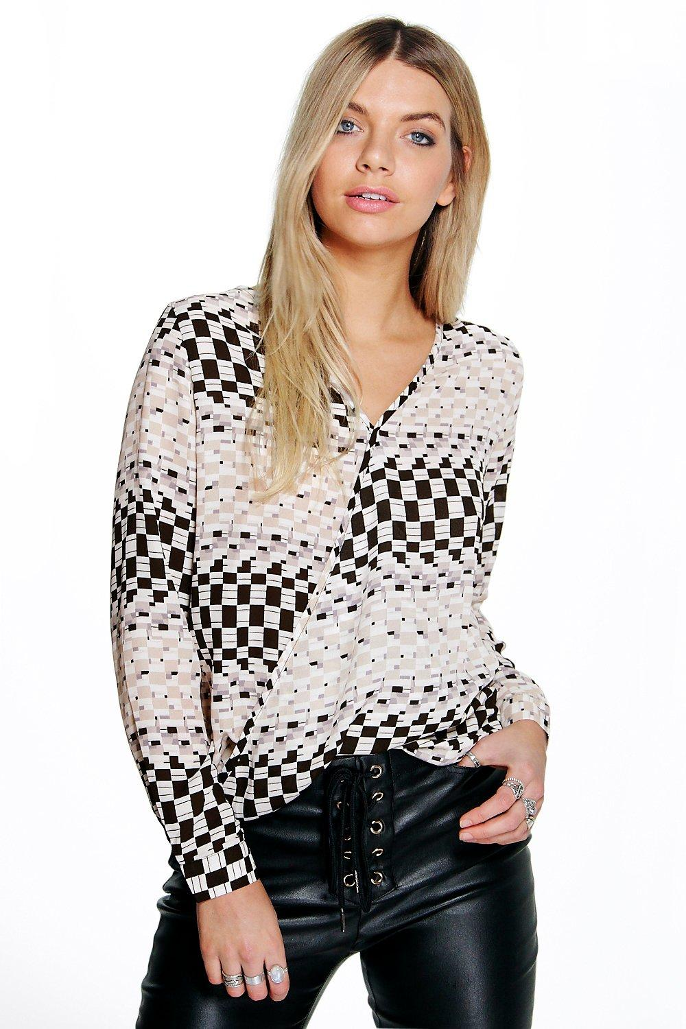 Molly Wrap Front Printed Blouse