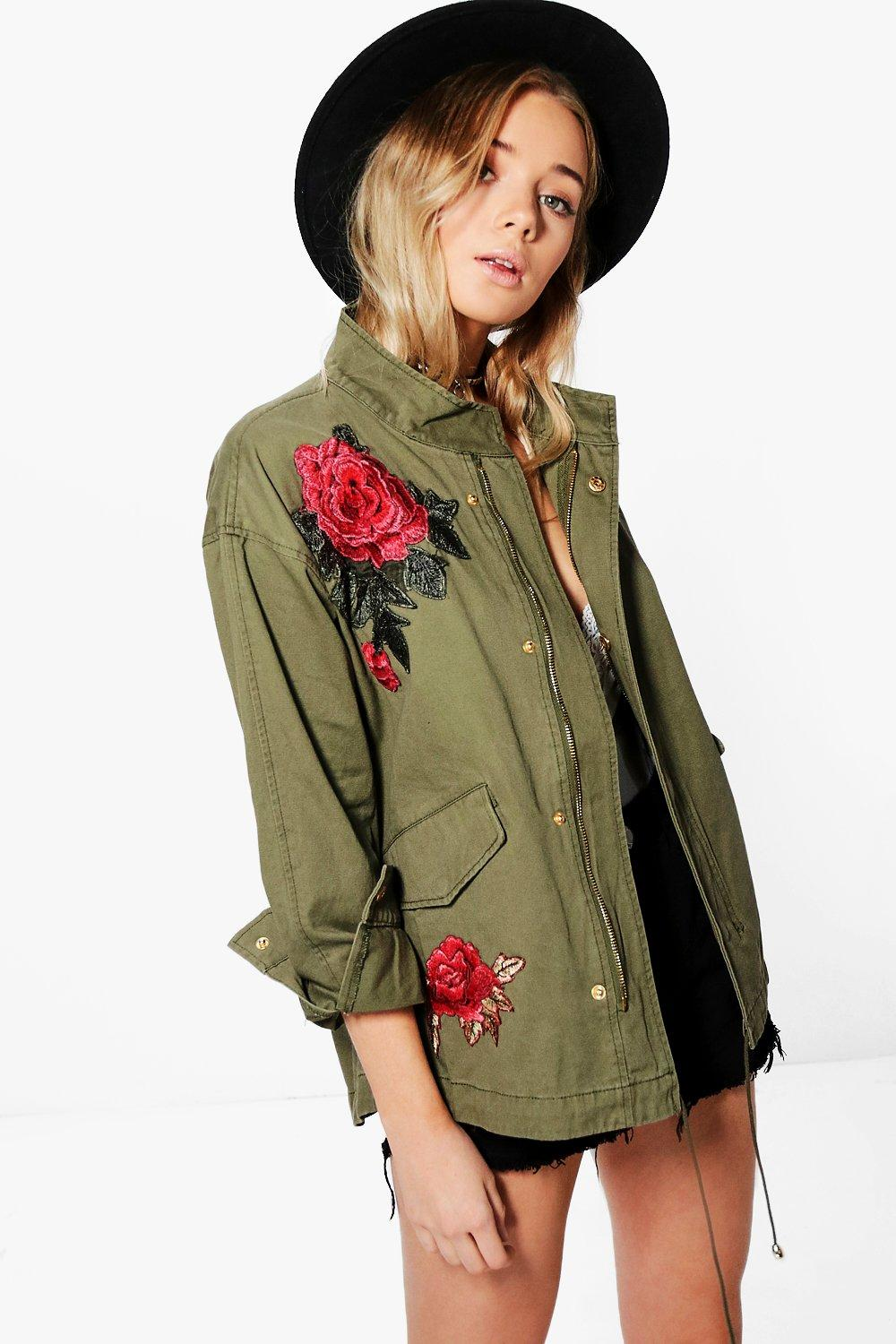 Elizabeth Boutique Rose Embroidered Military Jacket At