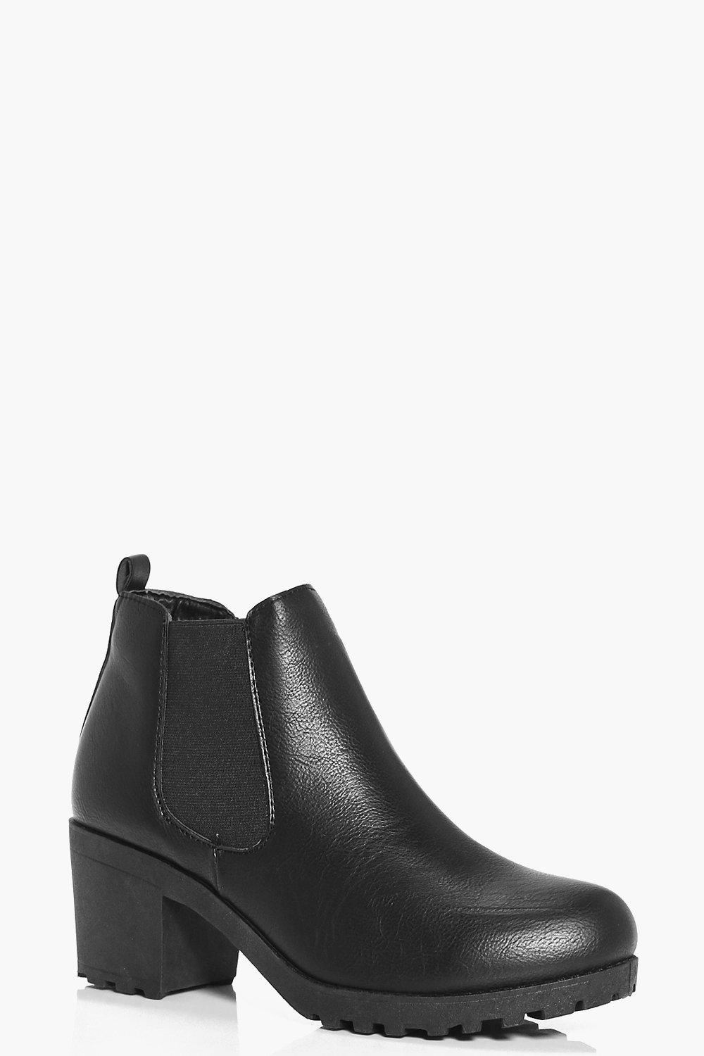 Reimagined Chelsea-style boot with chunky heel and platform featuring Summerwhisper Women's Comfy Elastic Almond Toe Platform Short Chelsea Boots Block High Heel Slip .