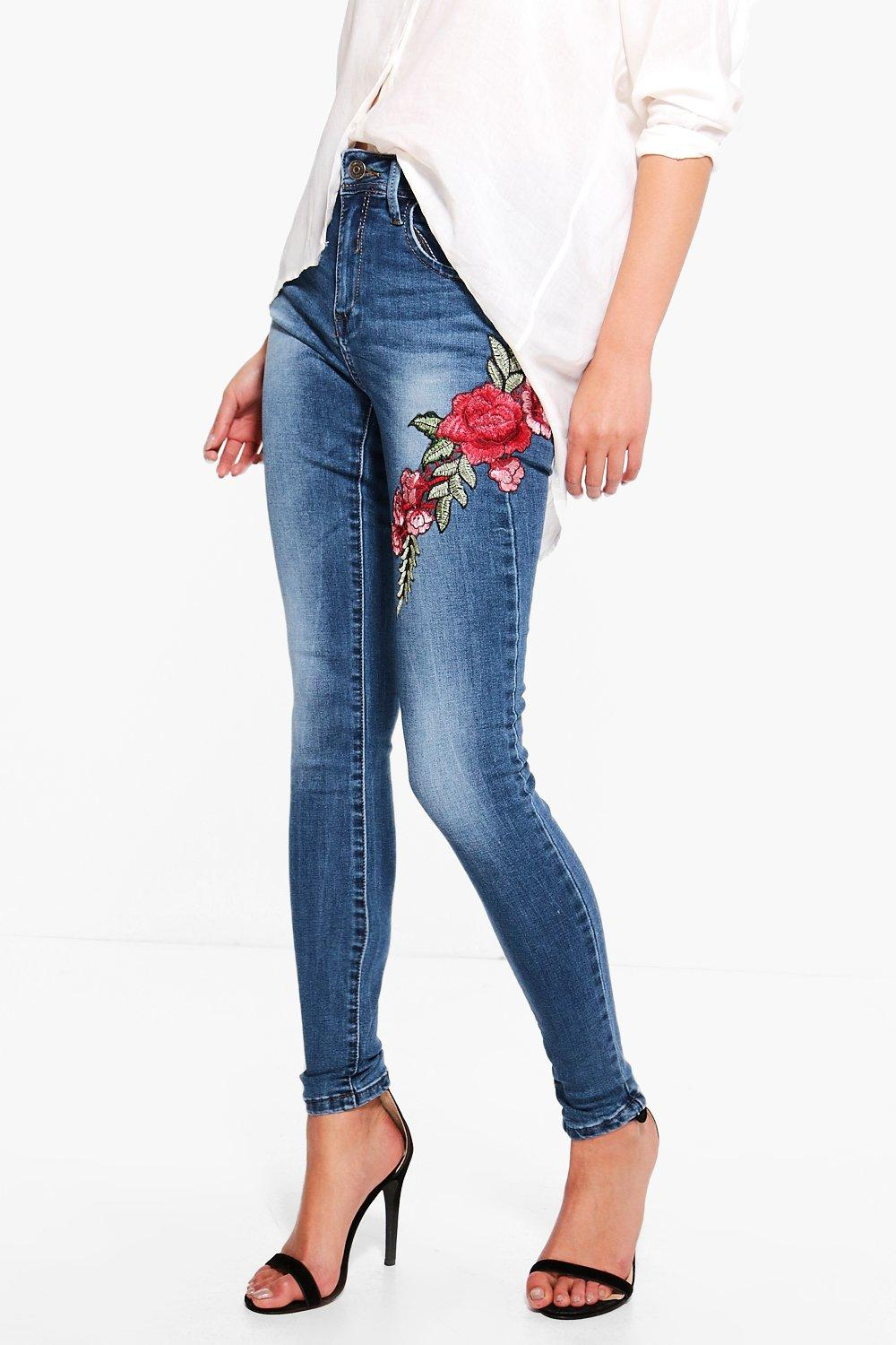 Helen Embroidered Skinny Jeans At Boohoo