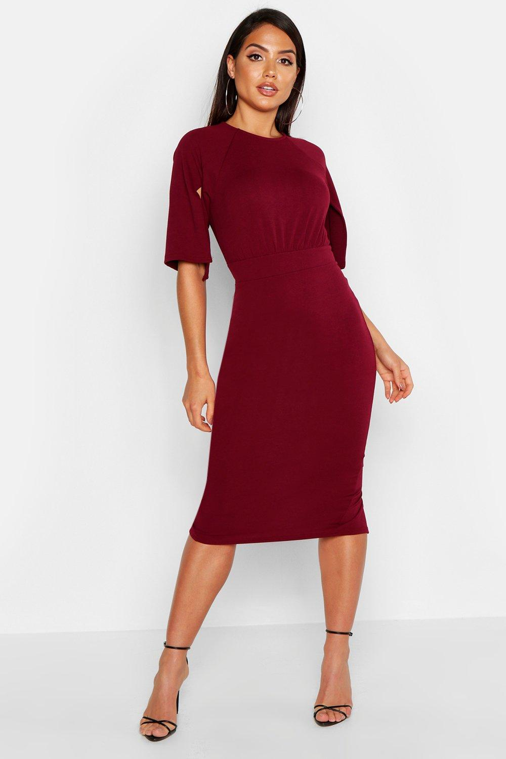 Cesca split sleeve detail wiggle midi dress at for Boohoo dresses for weddings