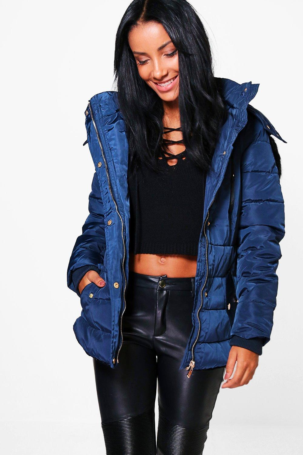 Sophie Faux Fur Hood Crop Bubble Coat