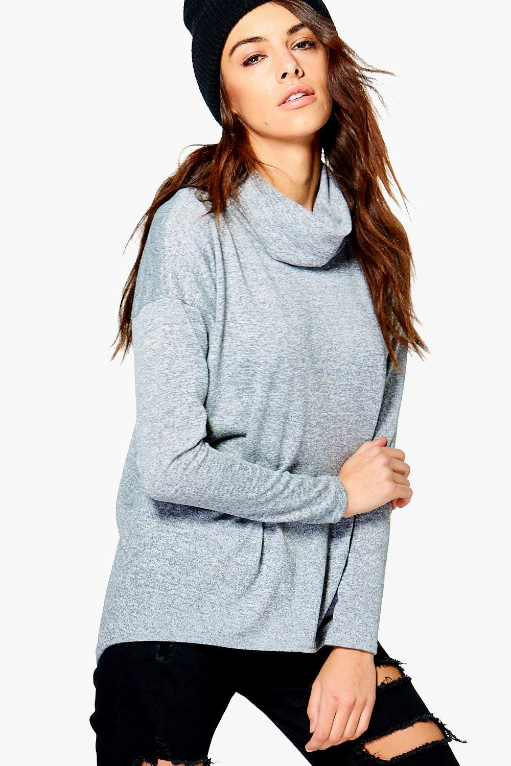 Maddison Roll Neck Oversized Jersey Top