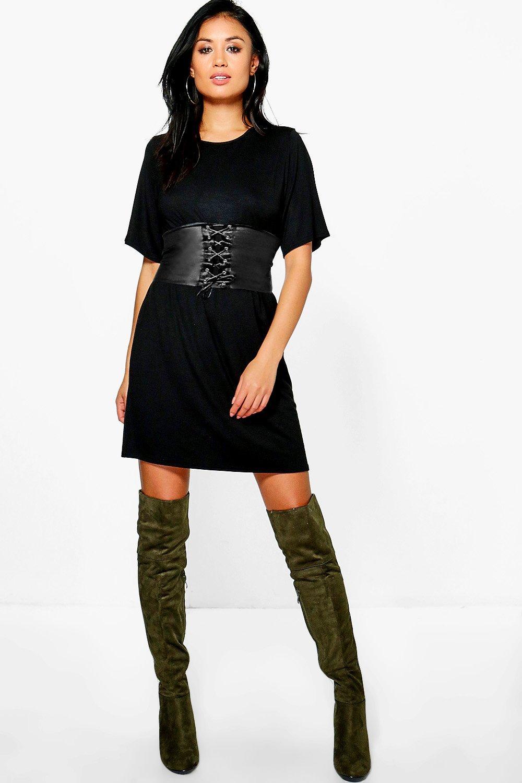 2 in 1 corset belt t shirt dress at boohoo
