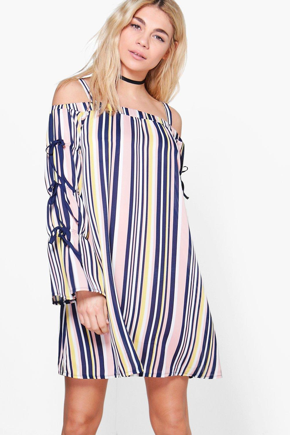 Veronica Striped Tie Sleeve Shift Dress
